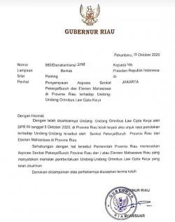 Gubri Kirim Surat ke Presiden Sampaikan Aspirasi Penolakan UU Cipta Kerja di Riau
