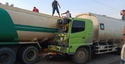 Diduga karena Sopir Mengantuk, Dua Truk CPO Bertabrakan di Jalur Lintas Duri-Dumai