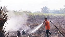 Lahan Terbakar Dekat Rumah Warga
