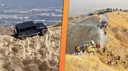 Apes, Jeep Wrangler Tersangkut di Jalur Sepeda di Atas Bukit Batu