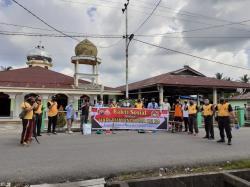 Polsek Bangko Bersih-Bersih Rumah Ibadah Jelang HUT Bhayangkara
