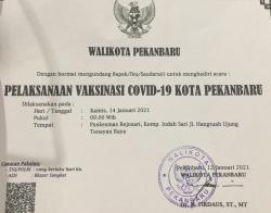 Di Pekanbaru, Vaksin Covid Dilaksanakan Pertama di Puskesmas Tenayan