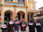 Aksi Sosial, Mahasiswa Hubbulwathan Jahit Bendera dan Bagikan Masker Gratis